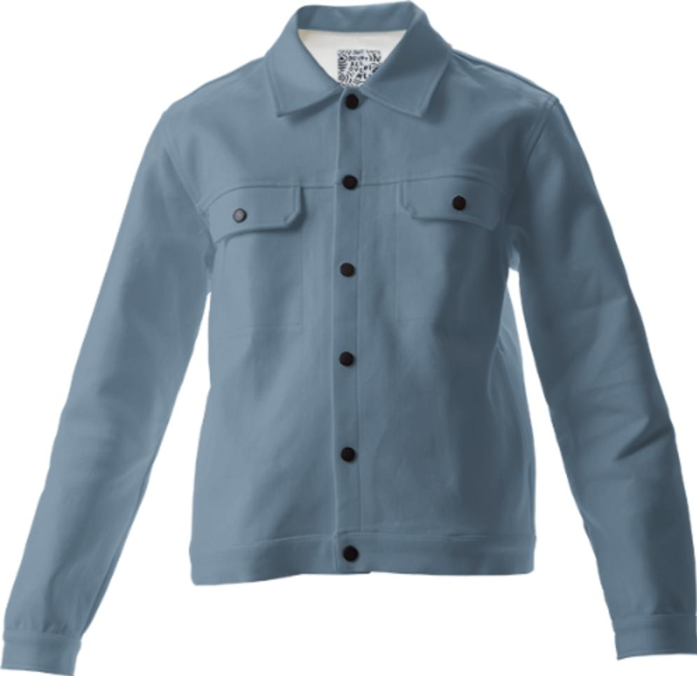 Solid Mid Blue Gray Twill Jacket
