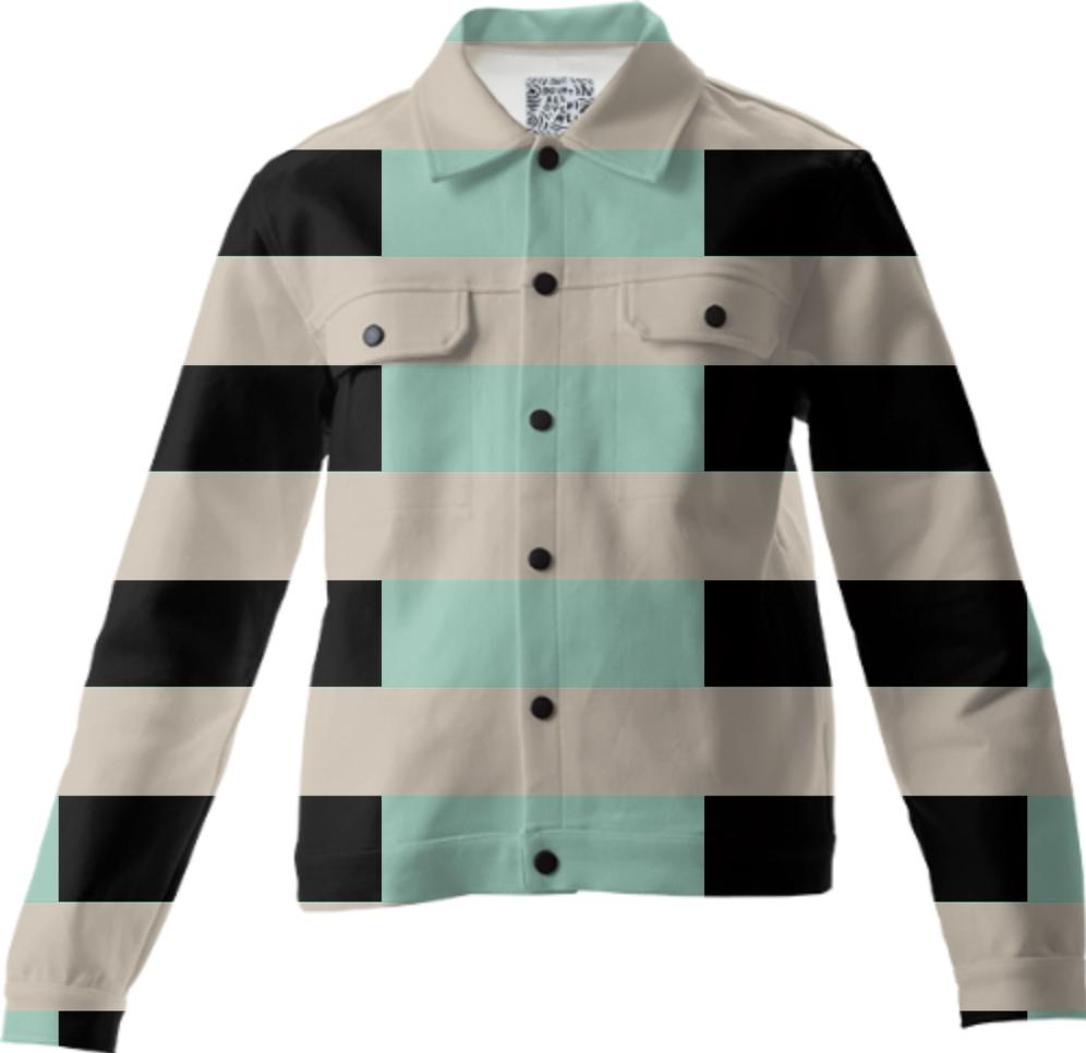 Tan Mint Black Checkerboard Twill Jacket