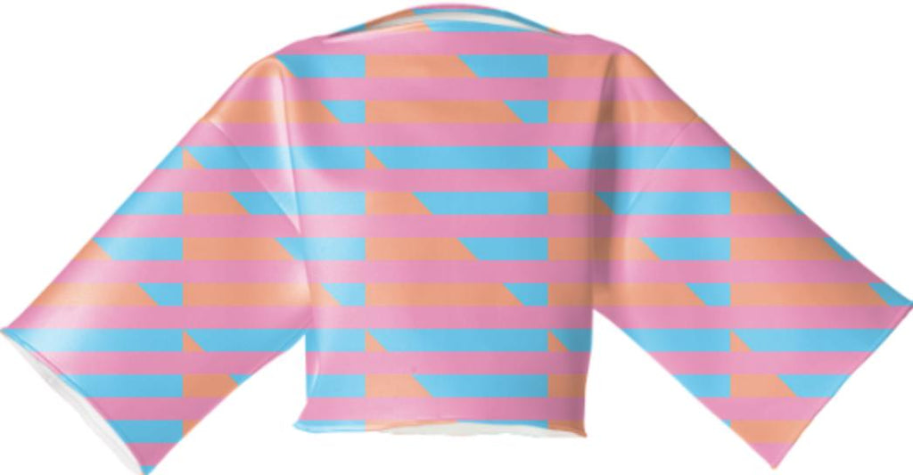 Peach Pink Blue Houndstooth Neoprene Block Top
