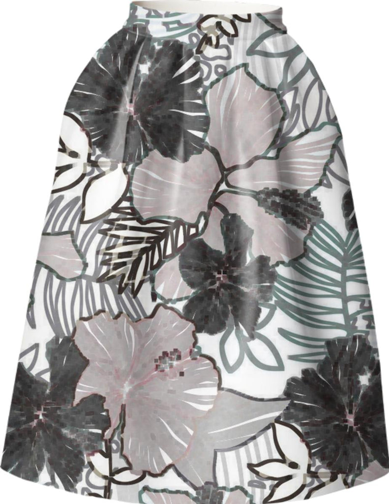 ABSTRACT FLORAL WOMENS FULL SKIRT