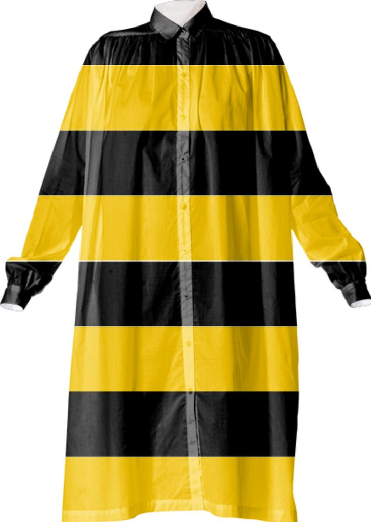 Bee Stripes Pattern Shirt Dress
