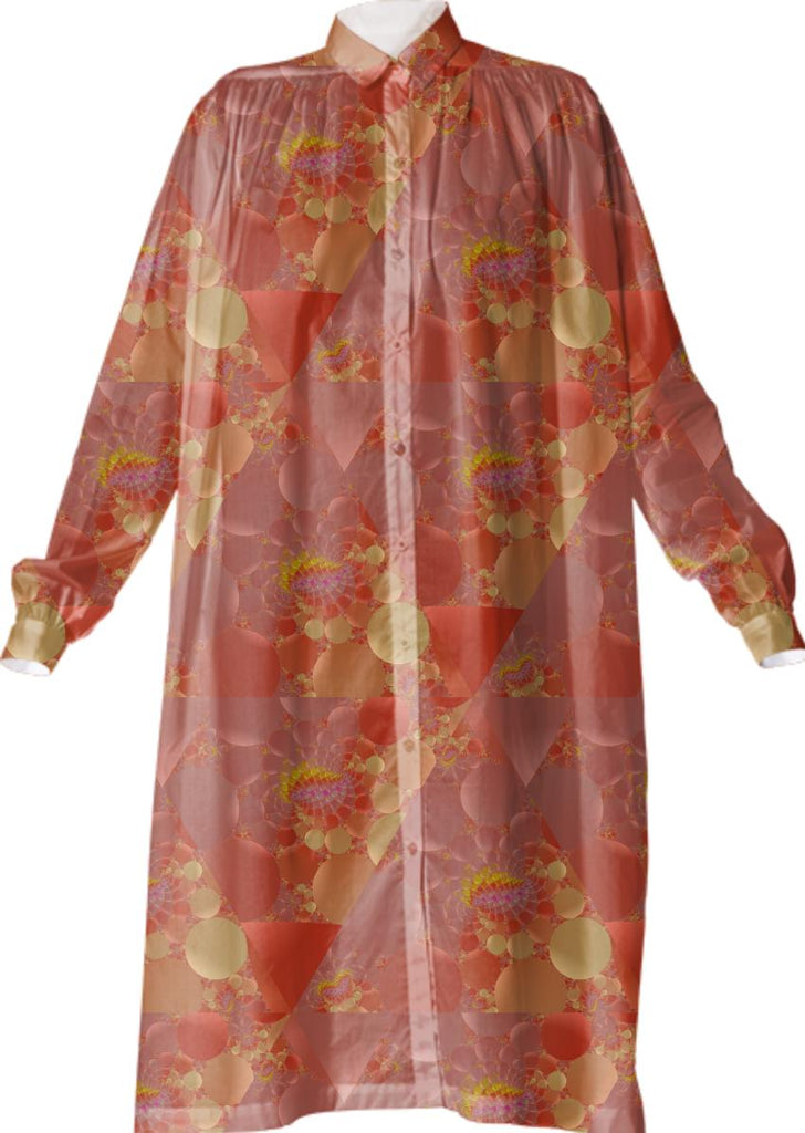 Delicate Peach Fractal Flowers VP Shirtdress