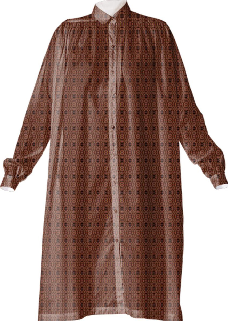 Elegant Brown Small Scale Pattern VP Shirtdress