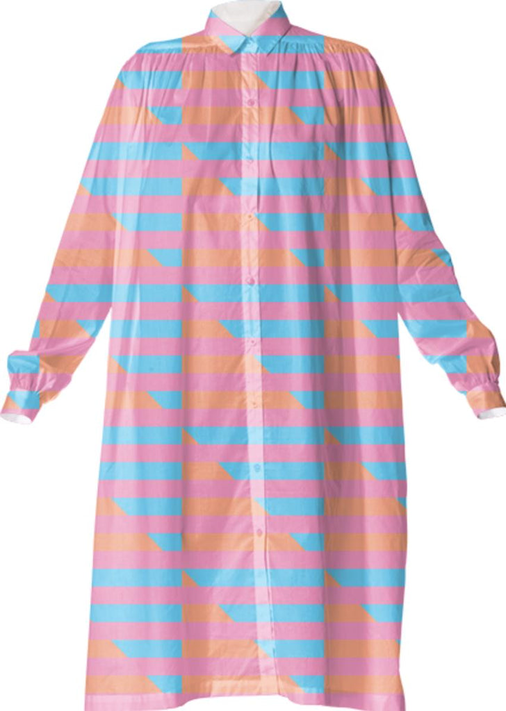 Peach Pink Blue Houndstooth Shirtdress