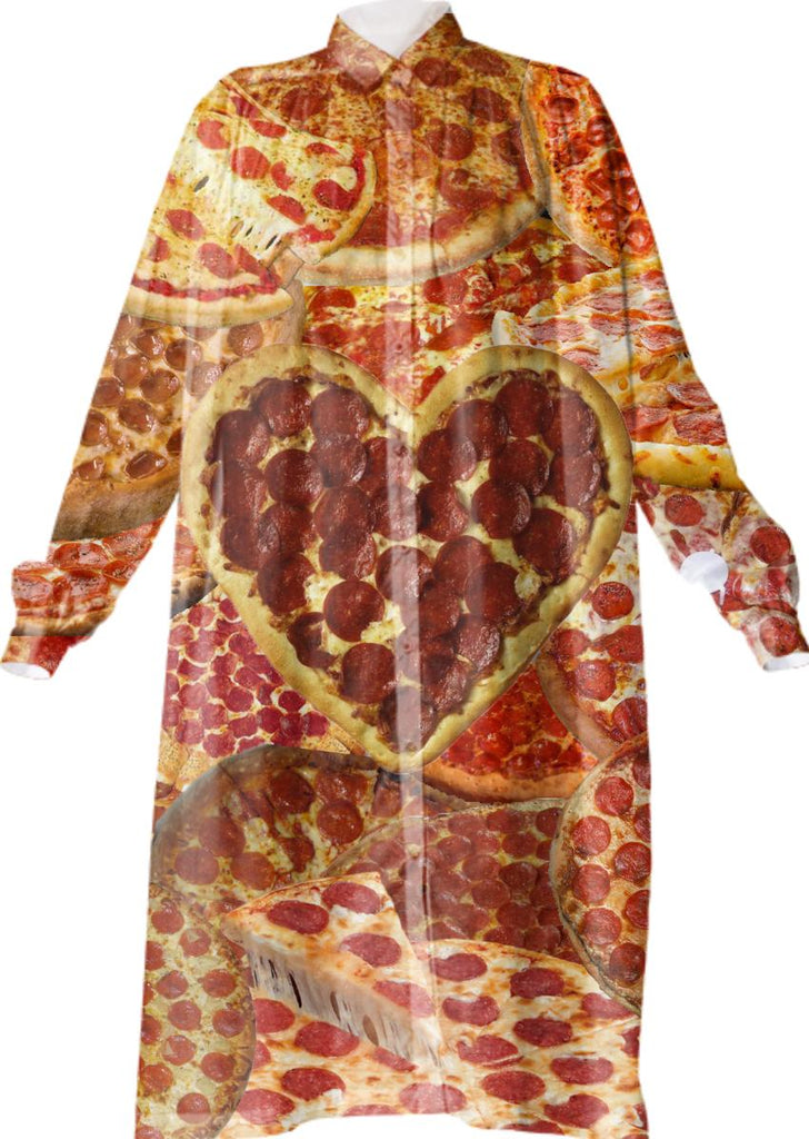 Pizza Button Up Dress