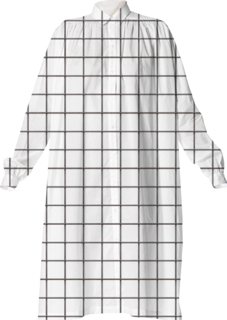 LU WHITE GRID VP SHIRTDRESS