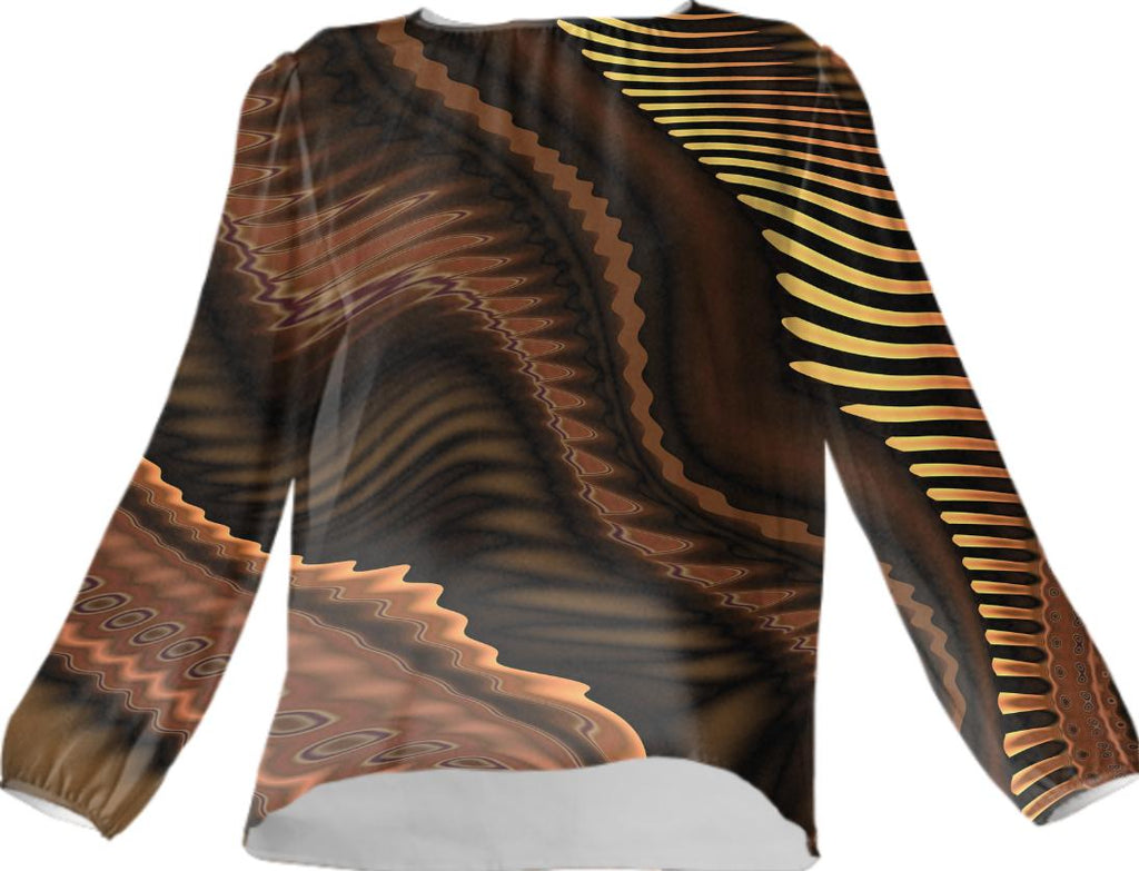 Contemporary Abstract 370 in Brown VP Silk Top