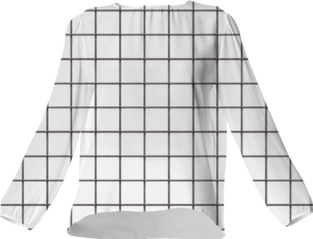 LU WHITE GRID VP SILK TOP