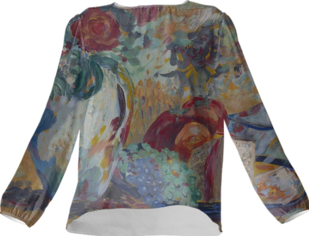Still Life with Roses Silk Top