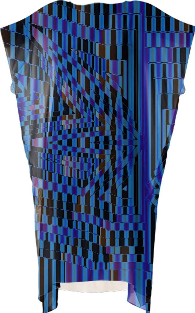Blue and Black Abstract Mosaic VP Square Dress
