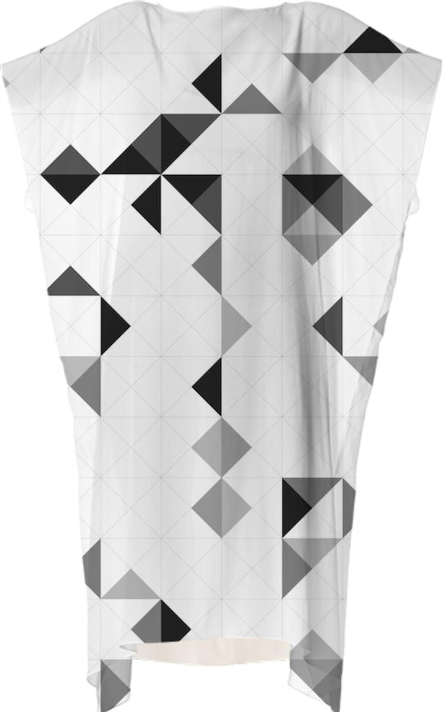 OLAF NICOLAI GREYSCALE PATTERN VP SQUARE DRESS