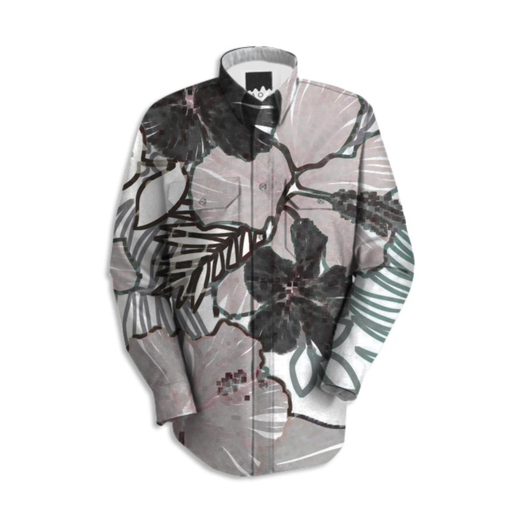 ABSTRACT FLORAL WOMENS MENS WORK SHIRT