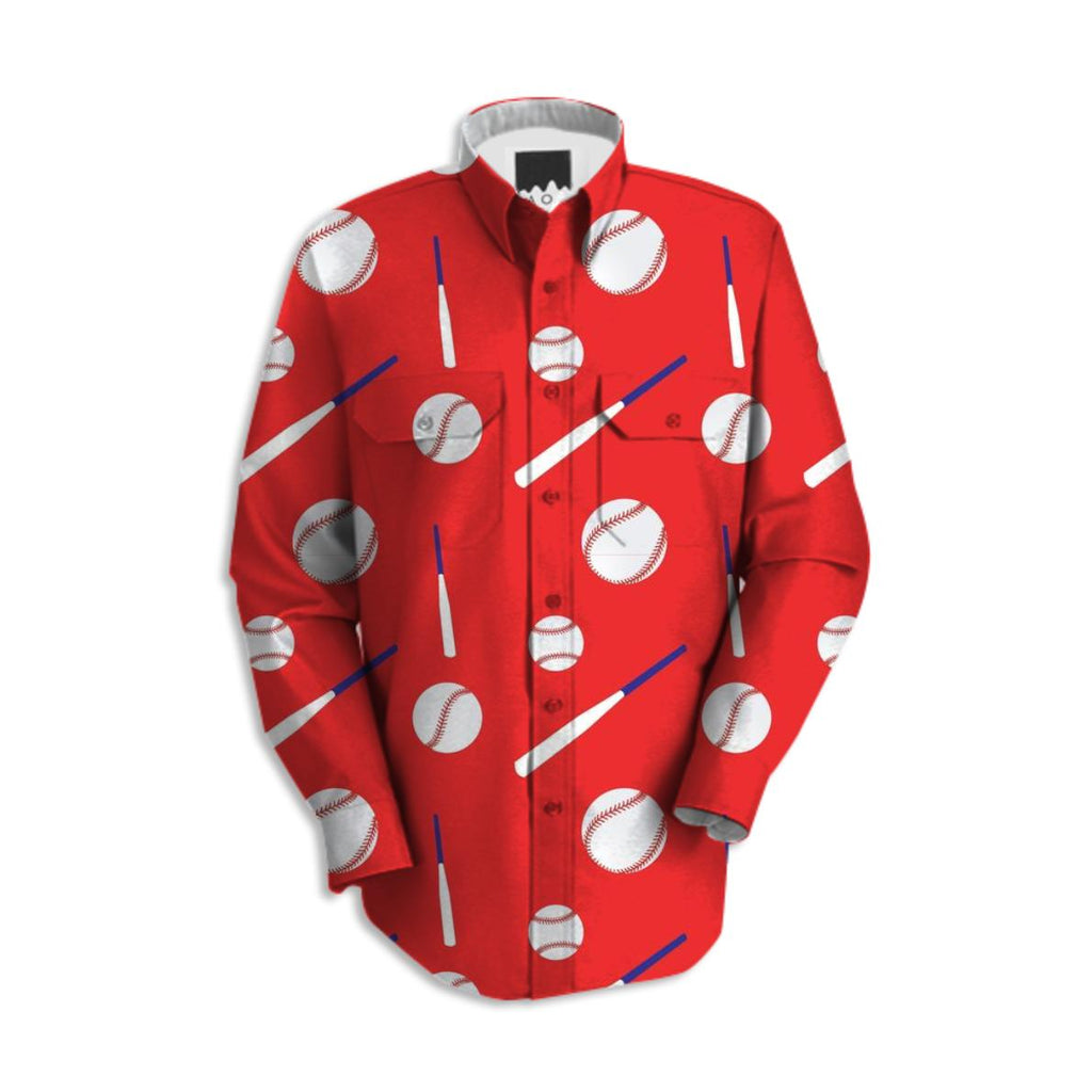 Baseball Fan Long Sleeve Work Shirt Red