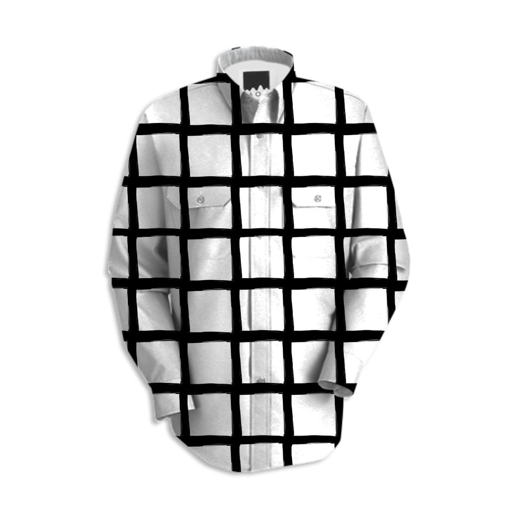 Black and White Grid Work Shirt