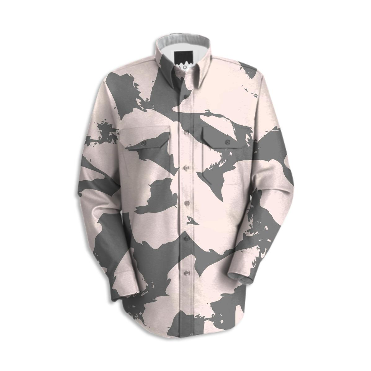 Pastel Pink Bird Wings On Gray Work Shirt Paom