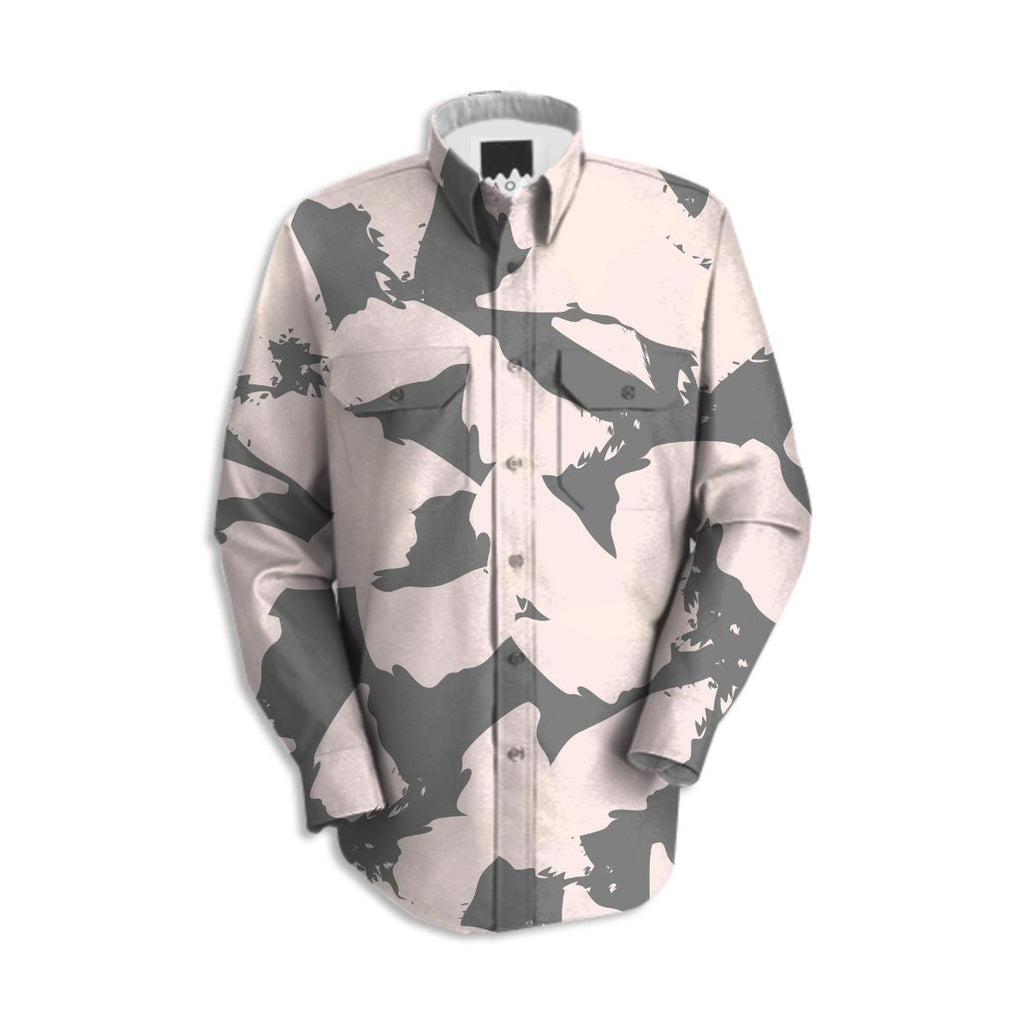 Pastel Pink Bird Wings on Gray Work Shirt