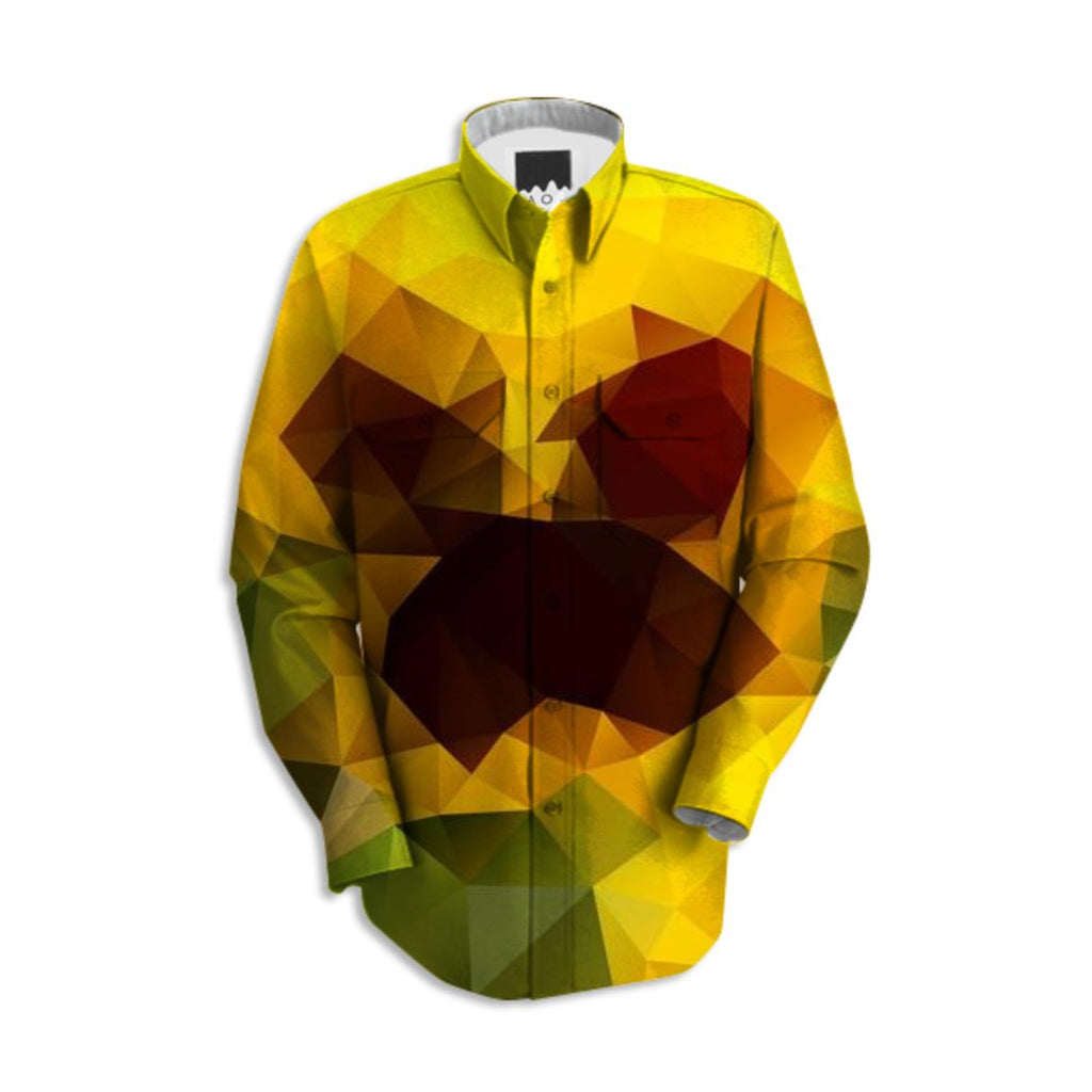 POLYGON TRIANGLES PATTERN GREEN YELLOW RED FRUITS ABSTRACT POLYART GEOMETRIC ORANGE FLOWERS NATURE SHIRT