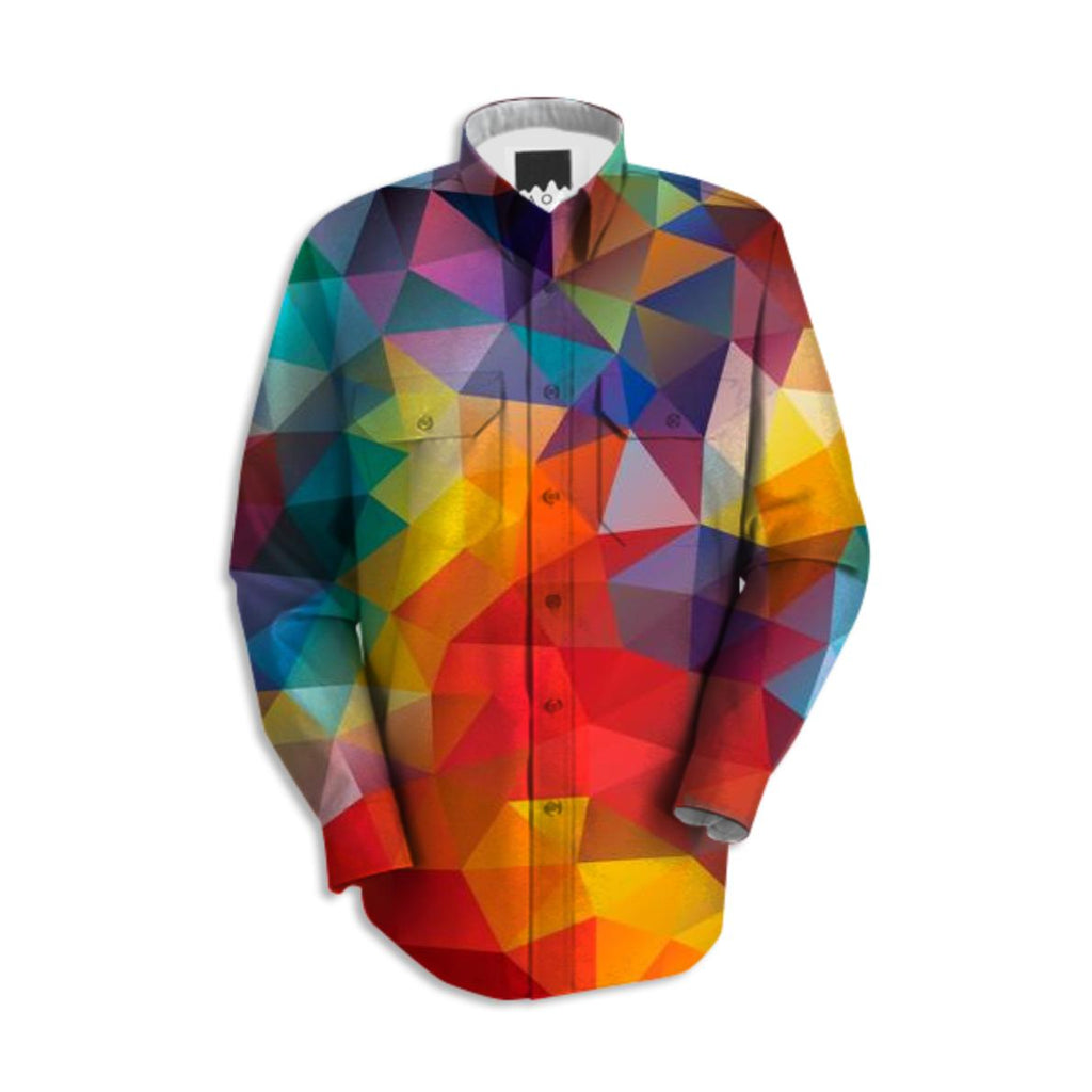 POLYGON TRIANGLES PATTERN MULTI COLOR COLORFUL RAINBOW ABSTRACT POLYART GEOMETRIC AVENUE AUTUMN ORANGE YELLOW RED SHIRT