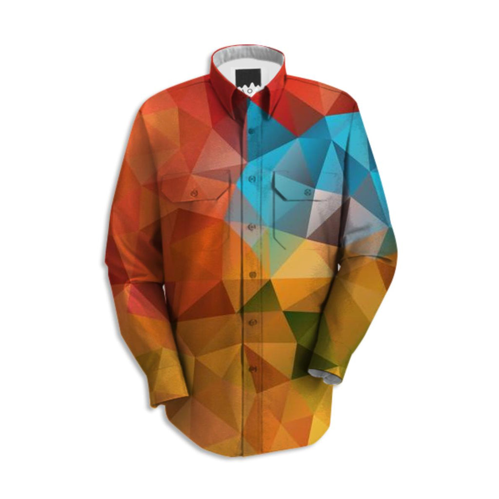 POLYGON TRIANGLES PATTERN YELLOW RED ORANGE ABSTRACT POLYART GEOMETRIC SHIRT
