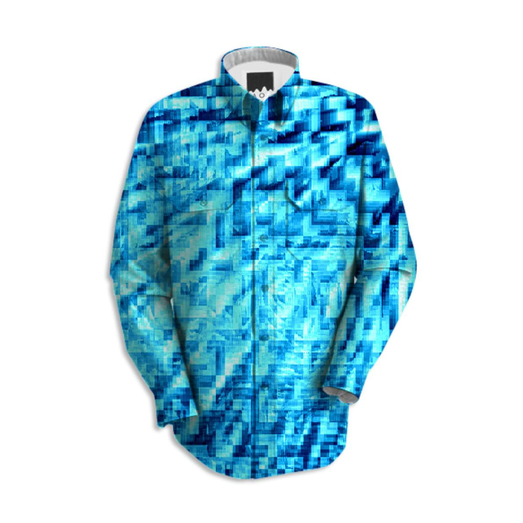 Turquoise Windy Pixels Button Down Shirt