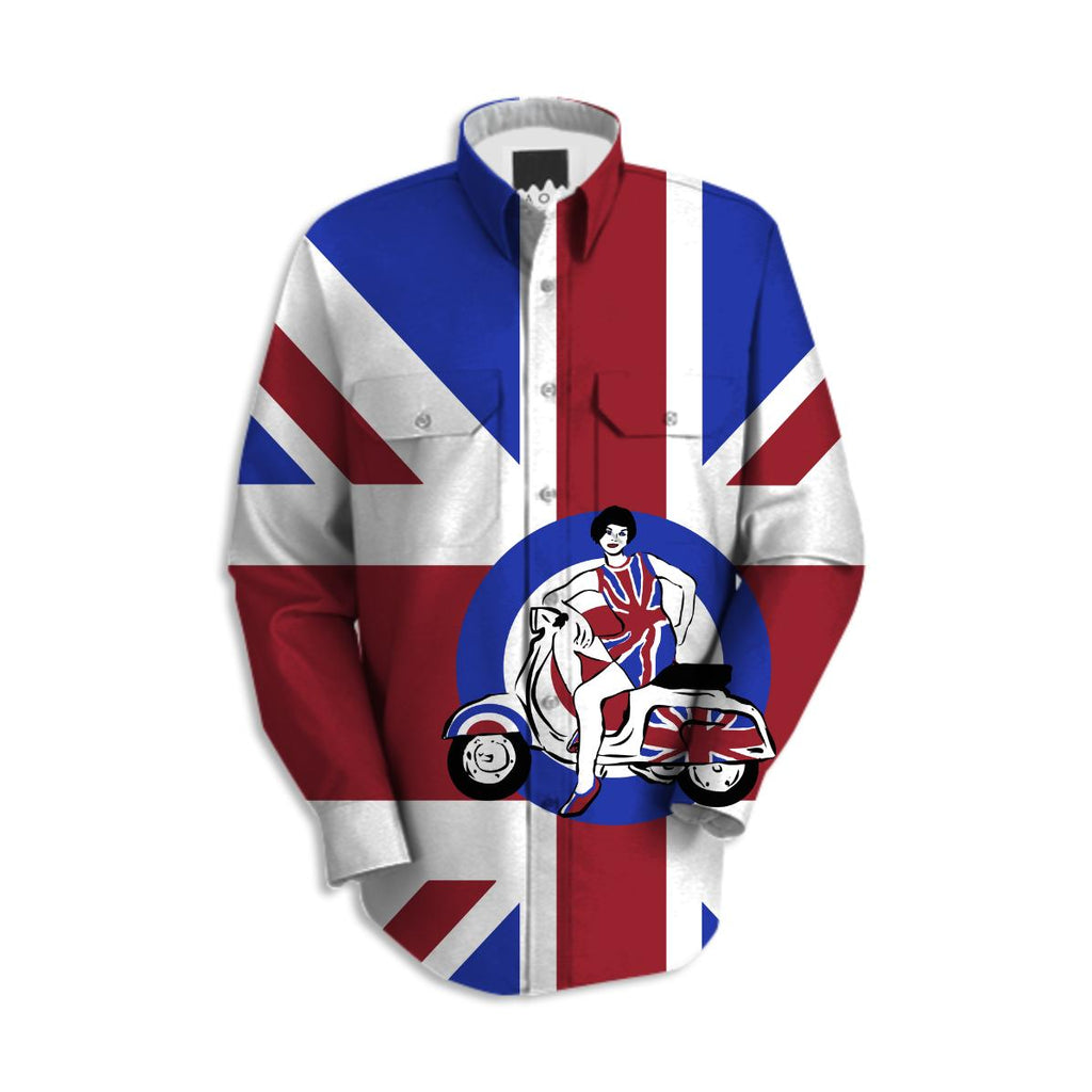 Mod scooter girl long sleeve shirt