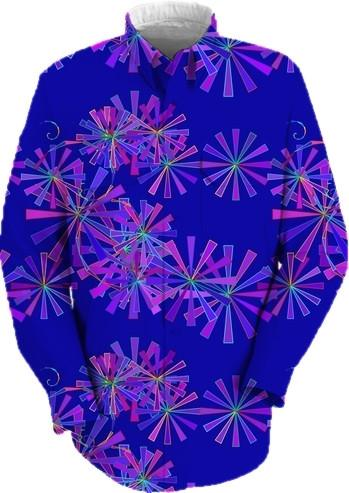 Abstract Flowers on Blue
