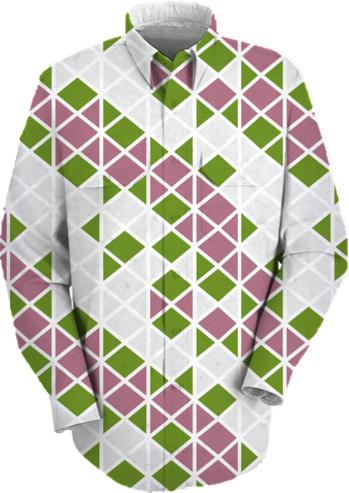 Abstract Geometric Pattern Pink Green and White