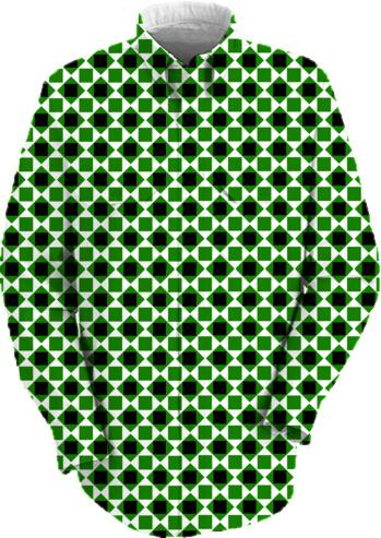 Black white green diamond and square pattern