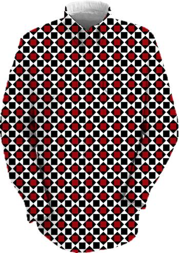 Black white red diamond and square mod pattern