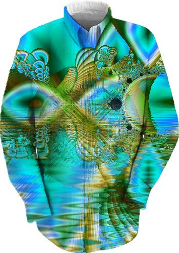 Crystal Gold Peacock Abstract Mystical Lake
