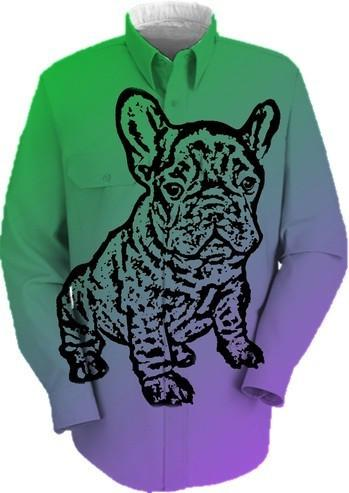 French Bulldog work shirt in green and purple