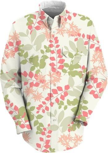 Green and Pink Floral and Foliage Shirt