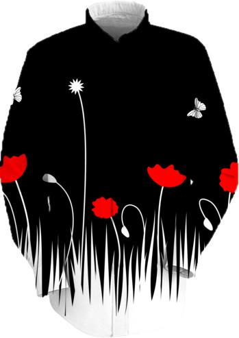 Red poppies black background