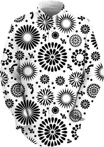 Retro black and white flowers