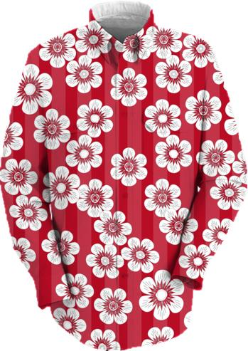 sakura flowered pattern on red stripes