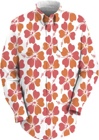 Spring colors hibiscus print on white