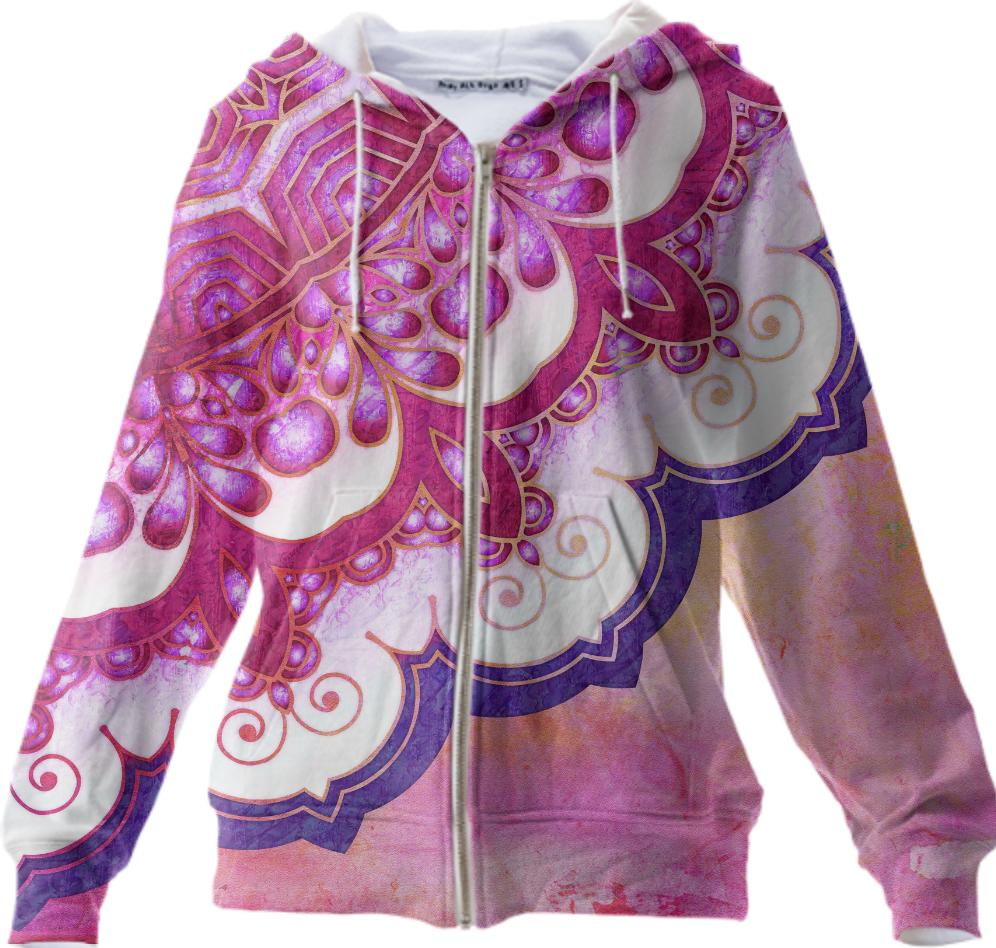 Colorful Watercolor Mandala Zip Up Hoodie