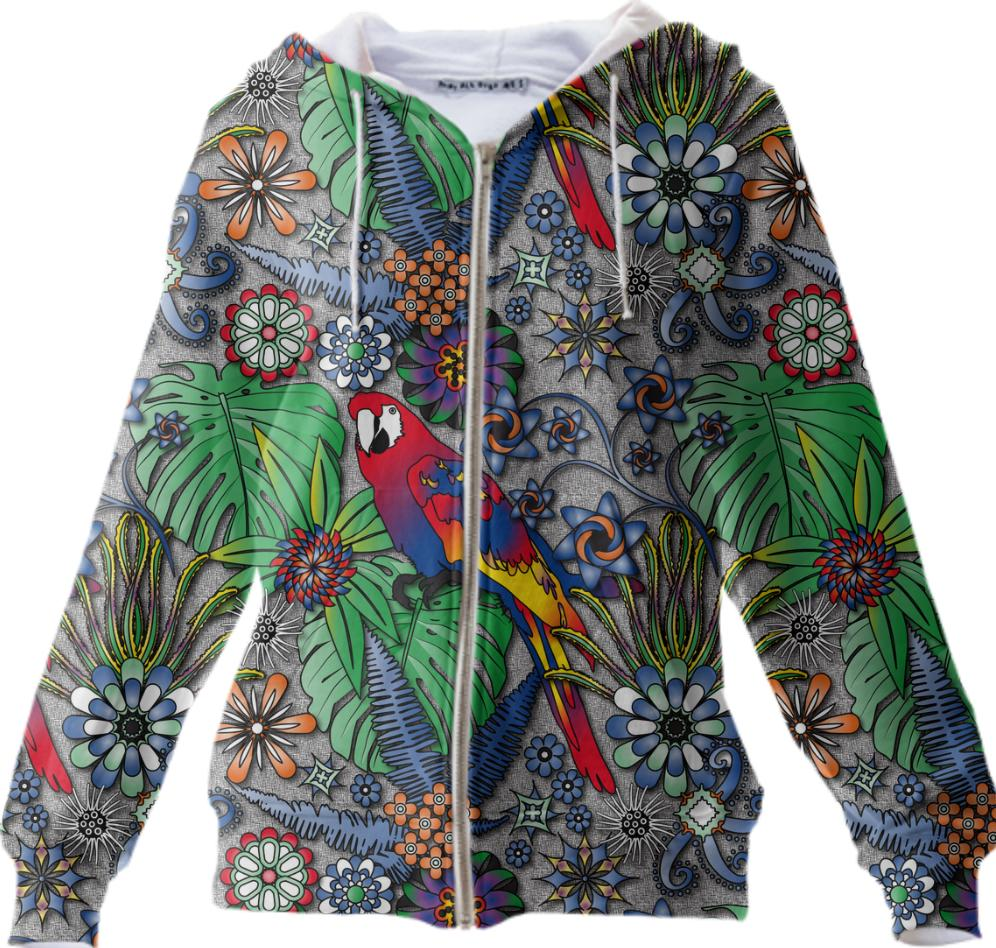 Jungle Parrot Zip Up Hoodie