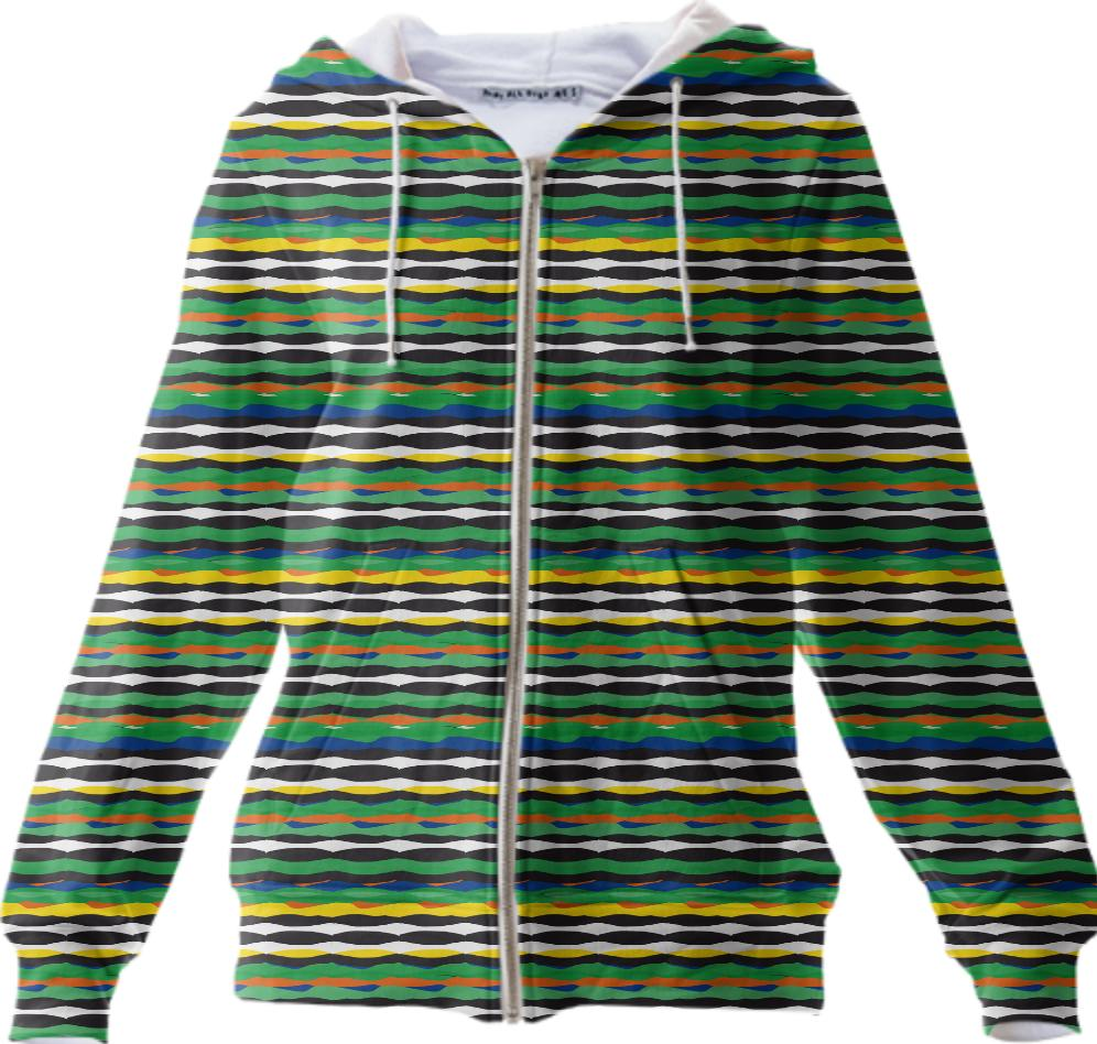 Tropical Stripes Zip Up Hoodie