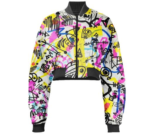 Scribbonacci Cropped Bomber Jacket