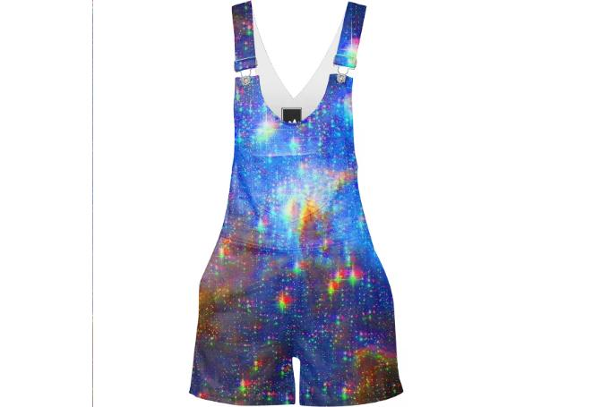 Glitchy Starscape Overall Shorts