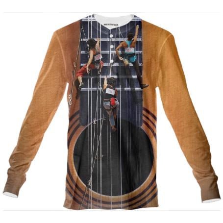 Surreal Guitar Climbers Henley Shirt
