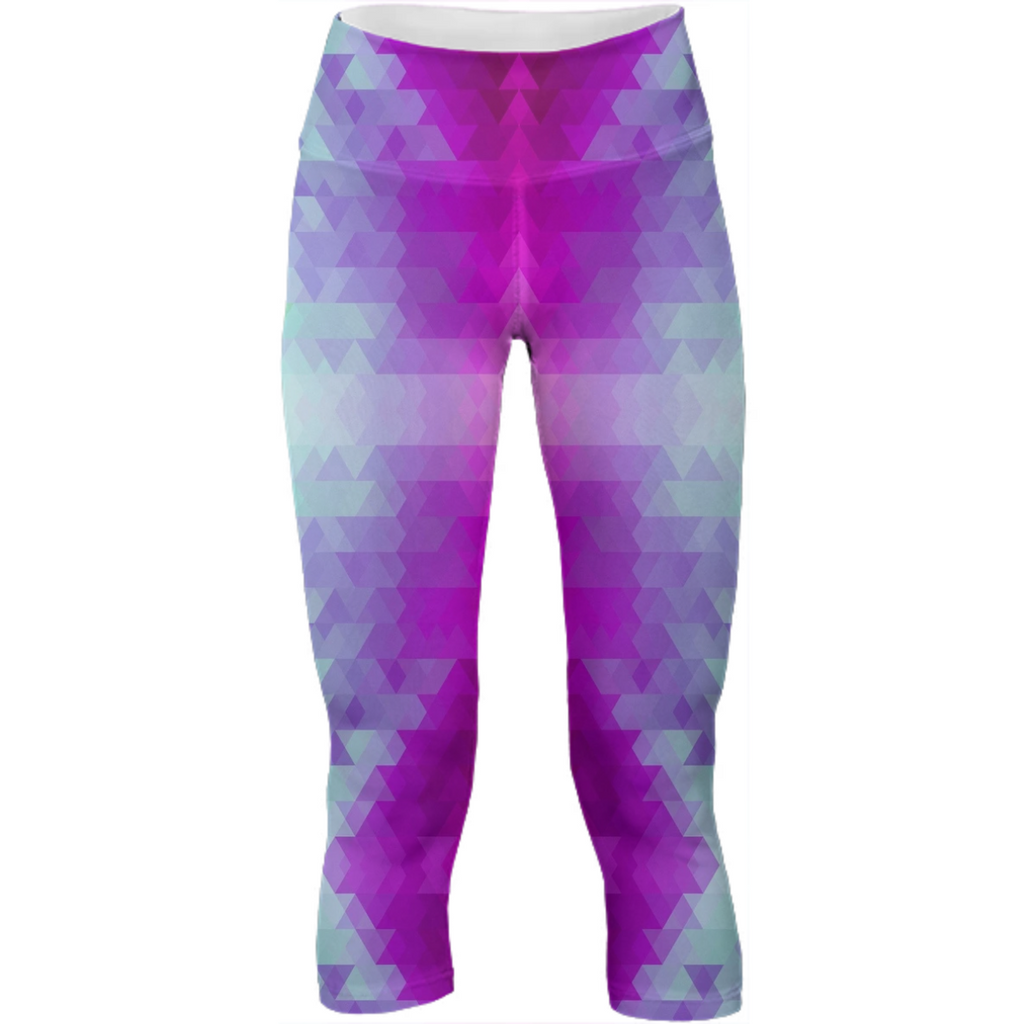 Purple Blue Aztec Crop Leggings