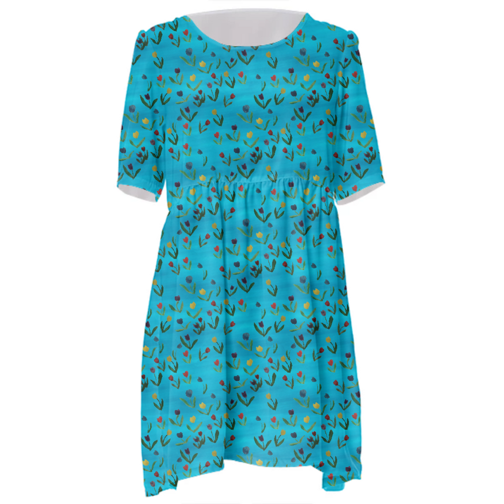Tulips Pattern Babydoll Dress
