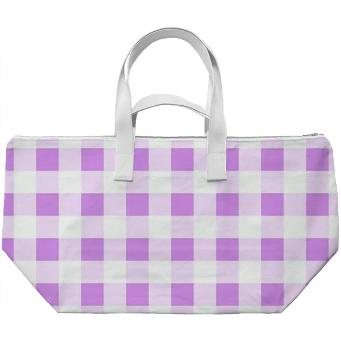 LAVENDER GINGHAM Weekend Bag