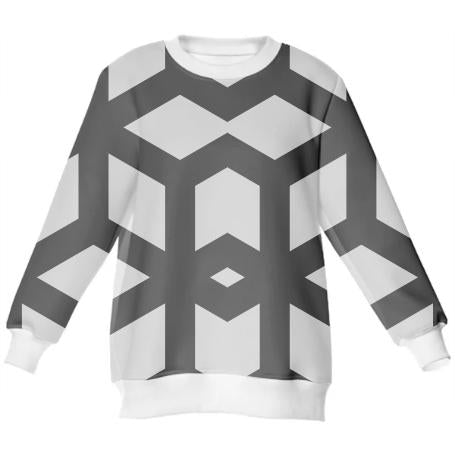 Black and White Geometric Men s Sweatshirt