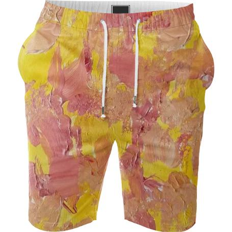 Yellow and Orange Abstract Painted Shorts