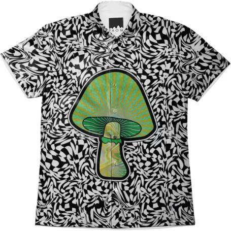 PAOM, Print All Over Me, digital print, design, fashion, style, collaboration, paomcollabs, Short Sleeve Workshirt, Short-Sleeve-Workshirt, ShortSleeveWorkshirt, Green, Shroom, spring summer, unisex, Cotton, Tops