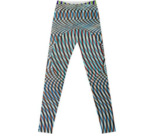 Adult Fancy Leggings in Op Art Overlap