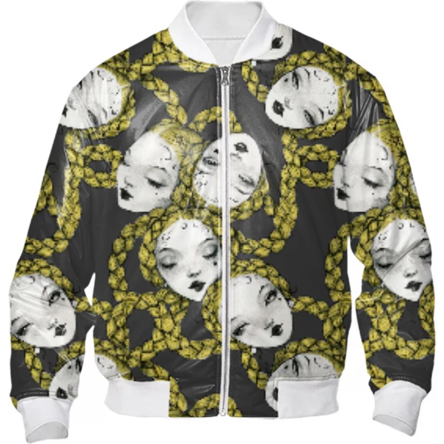 PAOM, Print All Over Me, digital print, design, fashion, style, collaboration, pidgin-doll, pidgin doll, Bomber Jacket, Bomber-Jacket, BomberJacket, Pidgin, Black, autumn winter, unisex, Nylon, Outerwear